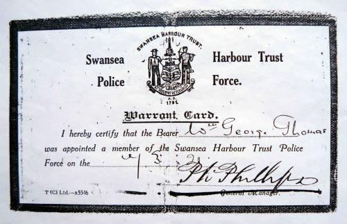 SHT Police Warrant Card for Pc Wm. George Thomas in 1921